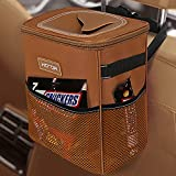 HOTOR Car Trash Can, Multifunctional Car Accessory for Interior Car Stuff Storage with Compact Design, Waterproof Car Organizer and Storage with Adjustable Straps, Magnetic Snaps (Brown)