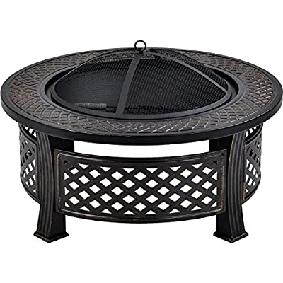 Xueliee Outdoor fire pit, big round fire bowl, garden patio heater, BBQ grill, natural rusted metal brazier with poker, grate, mesh cover, ?81cm by Xueliee