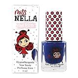 Miss Nella COOL KID- Esmalte azul especial para uñas para niños, fórmula despegable, a base de agua y sin olor
