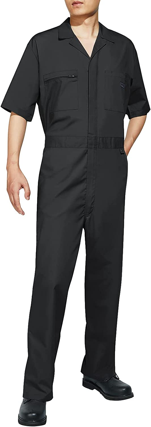 HISEA Men's Short Sleeve Coverall Work Attention brand trust Stain Wrinkle-Resistant