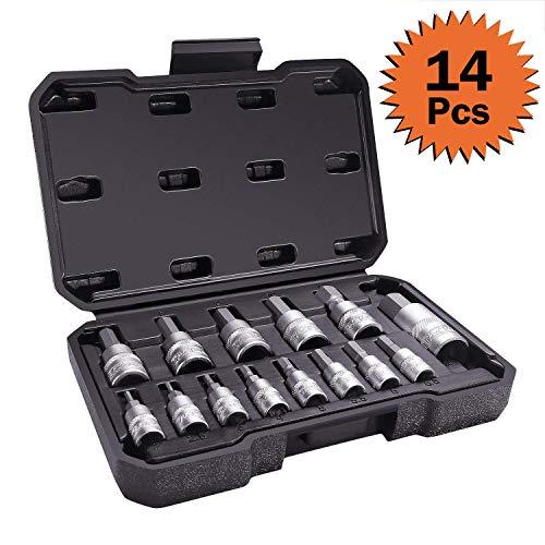 TACKLIFE Innensechskant Nüsse, 14-teilig Sechskant-Bit-Hülse, metrisch, Innensechskant Einsatz,Steck-Nuss Schlüssel für Innen-6-kant Schrauben,Schraubenschlüssel-Einsatz aus S2-Stahl + CR-V - HBS1A