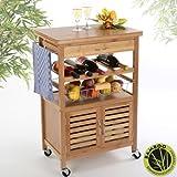 Torrex Küchenwagen aus Bambus 88 x 36 x 60 cm Servierwagen Küchentrolley mit Schublade und Weinregal