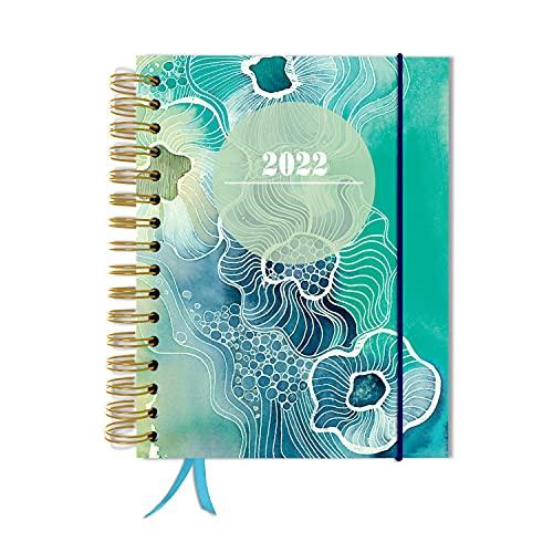 Agenda 2022, A5, planificador semanal de TaDa Planner para planificar y organizar con banda de goma y tapa dura para 2022, planificador semanal
