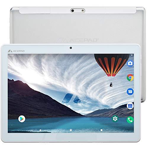"ACEPAD A140 v2021 (10.1\"") 4G LTE Tablet PC, 3 GB RAM, 64 GB interner Speicher, FHD 1920x1200, Octa Core, Android 9, Wi-Fi/Bluetooth, USB-C/microSD (Silber)"