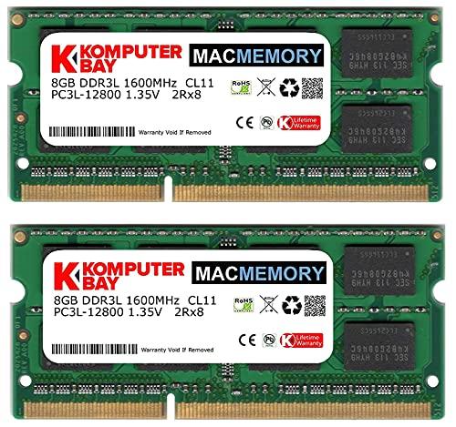 KOMPUTERBAY Komputerbay MACMEMORY DDR3-1600 1.35V 低電圧 ノートPC用SODIMM 16GBセット 8GB×2 PC3-12800