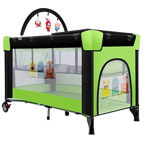 LVZAIXI Jeu Lit Pliable Multi-Fonction Lit de Voyage Lit Enfant Toddler Play Bed Clôture (Couleur : Green, Taille : Double Layer)