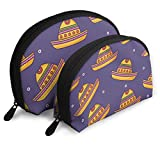 Mexican Hat Travel Portable Cosmetic Bags Organizer Set of 2 for Women Teens Girls