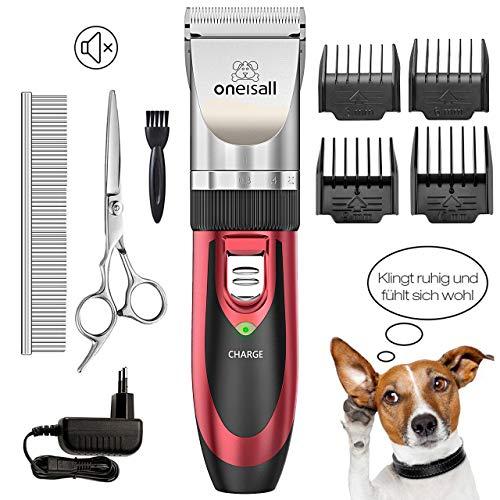oneisall Hundeschermaschine, Leise Profi Tierhaarschneidemaschine Hund Katze Haustier hundetrimmer Tierhaarschneider Schnurlosen Wiederaufladbare Elektrische Haarschneider(Rot)