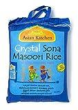 Asian Kitchen Crystal Sona Masoori Aged Rice 20lbs Pound Bag (9.08kg) Short Grain Rice ~ All Natural   Gluten Free   Vegan   Indian Origin   Export Quality