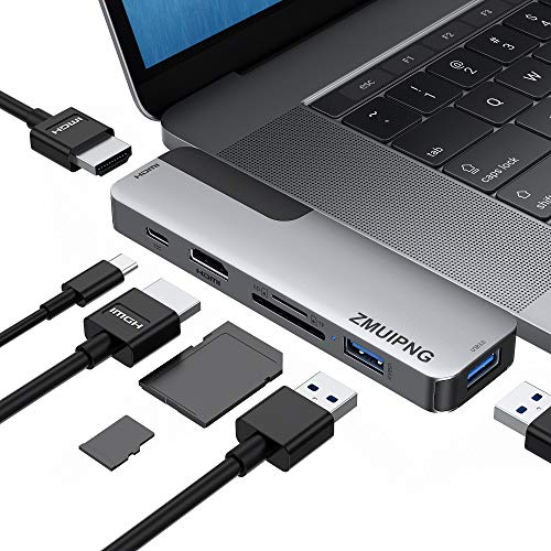 USB C Adapters for MacBook Pro 2020, MacBook Pro USB Adapter HDMI MacBook Pro Air Multiport Adapter with 2 HDMI 4K@60hz, 2 USB 3.0 Port, SD/Micro SD Card Reader, 100W Power Delivery