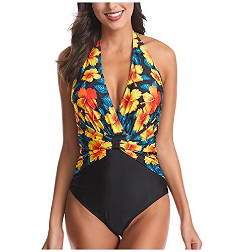 BALLAD Conjunto de bikini acolchado push-up para mujer, traje de baño, traje de baño, ropa de playa, amarillo, S
