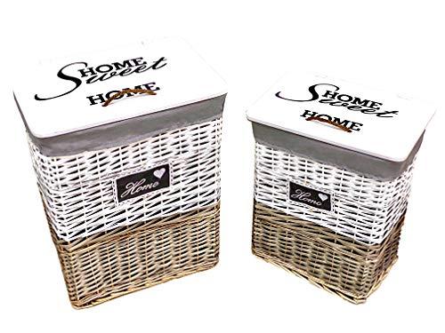 Ferrucci Import wasmand van wilgentenen – wasgoed – 2 maten – badkamermeubels – deksel van hout SET COMPLETO GRANDE+PICCOLO