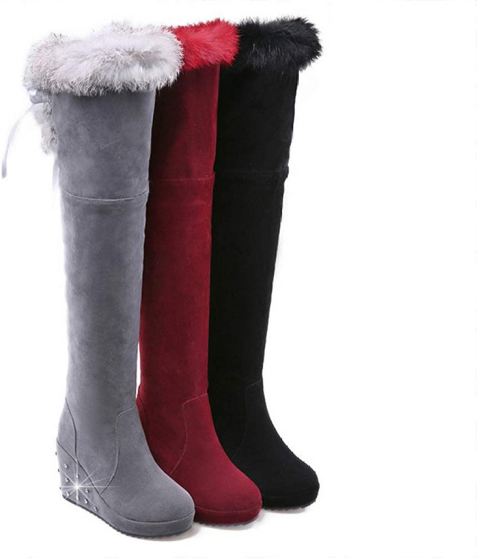 HhGold Damenstiefel - Schneestiefel über dem Kniestiefel über über über dem Kniestiefel Hohe Stiefel Warme Stiefel 34-43 (Farbe   Rot, Größe   38)  baf5e2