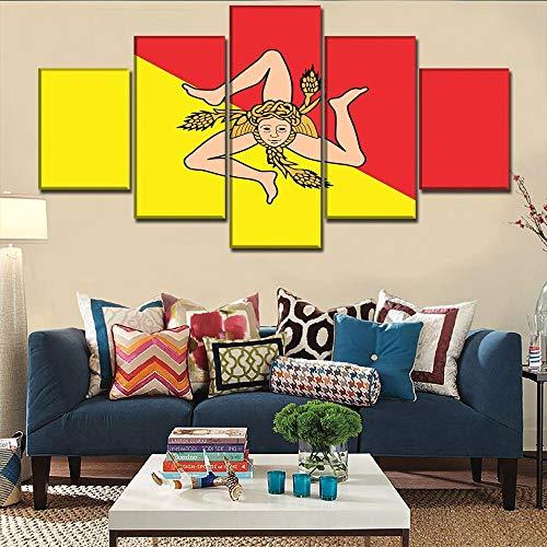 WJWORLD 5 panelen canvas schilderijen muur abstract achtergrond schilderijen schilderijen kunst op canvas kunstdruk afbeeldingen hoofddecoratie vlag van Sicilië afbeeldingen 20x35cmx2,20x45cmx2,20x55cmx1 Frameloos