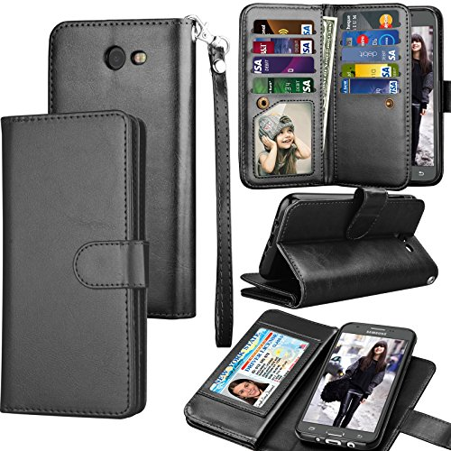 Tekcoo Compatible for Galaxy J7 Sky Pro / J7 V / J7 Perx/Samsung Halo / J7 2017 PU Leather Wallet Case, Credit Card Slots Carrying Flip Cover [Detachable Magnetic Case] Kickstand Black