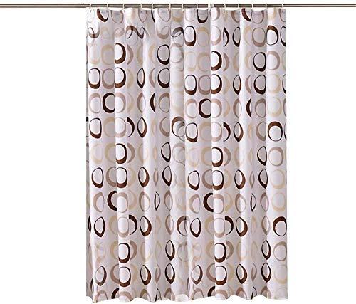 N-E Juego de Cortina de Ducha Impermeable con 12 Ganchos Cortinas de baño Circulares pequeñas Tela de poliéster baño a Prueba de Moho para la decoración del hogar_180x180cm