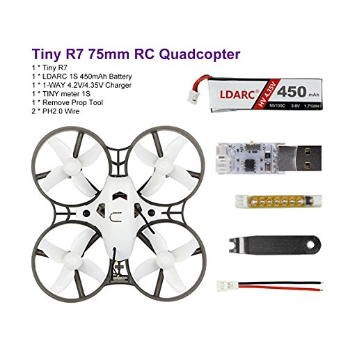 LDARC Tiny R7 75mm BNF RC Quadcopter Basic Combo with 40mm 4-Blade Props 8X20mm 16000KV Motor