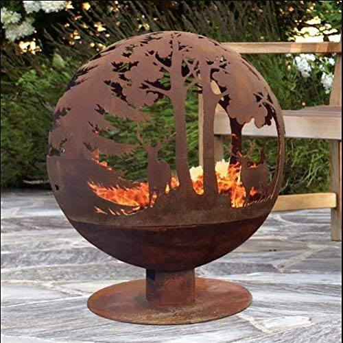 Cast Iron Fire Pit Garden Basket Bowl Large Globe Sphere Log Burner Patio Heater Outdoor Rustic Camping Chimenea BBQ Barbecue Grill Backyard Yard Firepit Round Indian Cooking Stove Sculptural Design