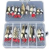 DONQL Señuelos de pesca de metal con cucharas de cebo duro, juego de 20 piezas de señuelos de pesca de metal, anzuelos de pesca para peces y lubinas de salmón (juego B)