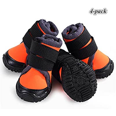 Hdwk&Hped Waterproof Small Dog Boots Durable Dog Hiking Shoes for All Seasons, with Rugged Anti-Slip Sole Cosy Fabric Orange #50, 4-Pack