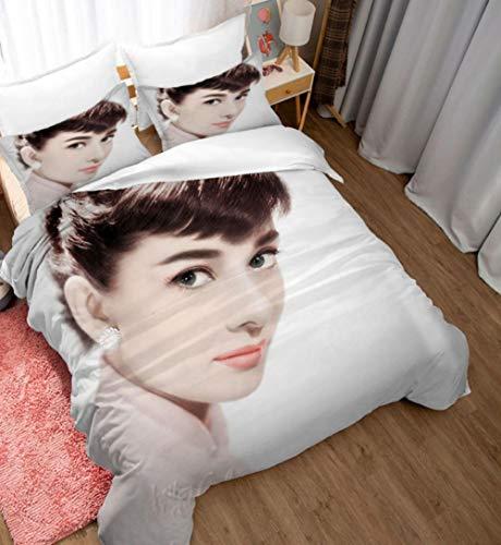 ZZZXX Bettbezug Audrey Hepburn Bettwäsche Set...