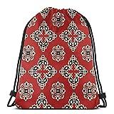 Jhonangel Mochila roja con cordón étnico Tribal Impermeable Bolsa de Viaje de Yoga 36 x 43 cm / 14,2 x 16,9 Pulgadas