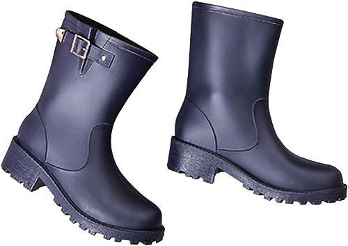 JHKJ Botines para mujer, botas de Lluvia Impermeables, zapatos de jardín,púrpura,39=8.5