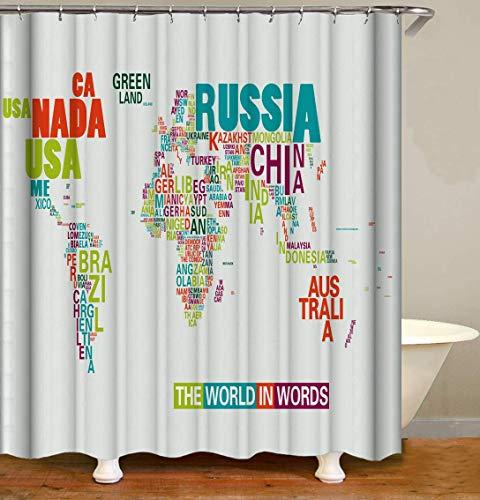 JOOCAR Design Duschvorhang, Weltkarte, bunt, modisch, die Welt in Worten, wasserdichter Stoff, Badezimmer-Dekor-Set mit Haken