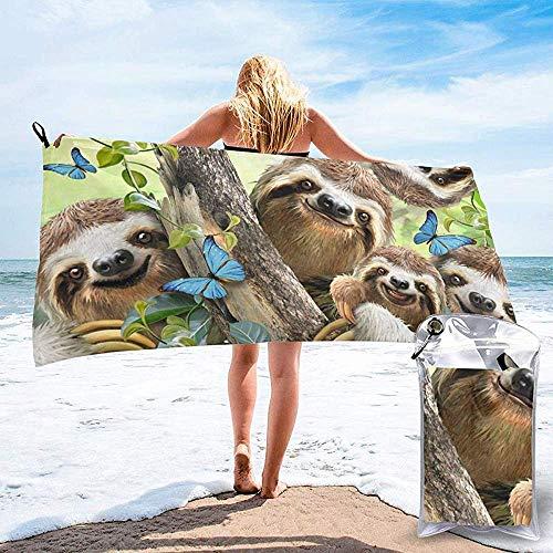 Black-Sky Quick Dry Handtuch für Strand Reisen Bad Schwimmen Camping, viele süße Faultiere schnell trocknende Handtücher
