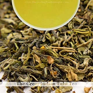 Tulsi (Holy Basil Tea) Organic Green Tea Herbal Loose Leaf Blend | Antioxidant, Immunity Builder | 100gm (3.52oz) | Darjee...