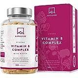 Complexe de Vitamine B - 180 Capsules - 286,3 mg/Dose Quotidienne - Réduction de la Fatigue et Lassitude - Favorise le Métabolisme Énergétique Normal - 100% Végétalien - Qualité Nordique d'AAVALABS