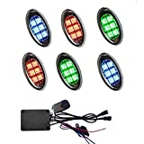 Kingshowstar 6PCS LED RGB pod Cellphone Bluetooth Controlled Motorcycle LED Light Kits with Music Sync for Motorcycle ,Golf Car ,ATV,Car