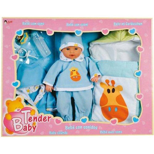 Arias Tender baby blauw 30 cm pop met slaapzak en nachtzak