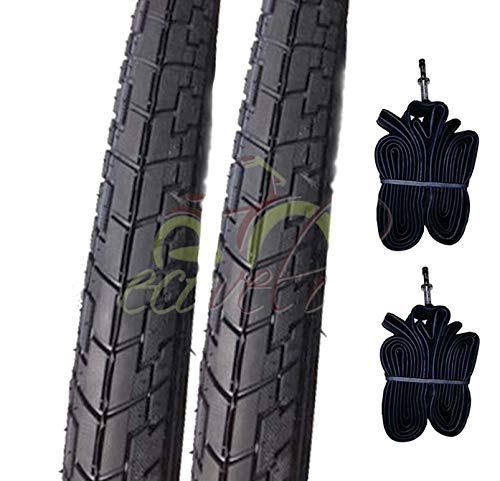 Ecovelò EBA26NED 2 COPERTONI Neri + 2 Camera d'Aria 26 X 1.75 (44-559) MTB Mountain Bike Bicicletta Slick Stradale