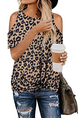 SMENG T Shirts Damen Sommer Oversize Shirt Party Oberteile One Shoulder Pullover Sexy Bluse Leopardenmuster Ausgefallene Tshirts Kurzarmshirt Braun S