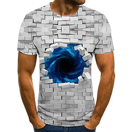 YPDWYJL Azulejos de Pared tridimensionales Verano de los Hombres 3D de Manga Corta Casual Camiseta de Secado rápido Parejas Cuello Redondo Top Casual