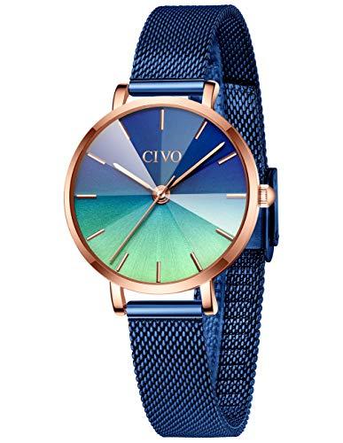 CIVO Uhren Damen Frauen Blau wasserdichte Edelstahl Mesh Armbanduhr Farbverlauf Zifferblatt Elegante Kleid Business Uhren für Damen Frauen Mädchen