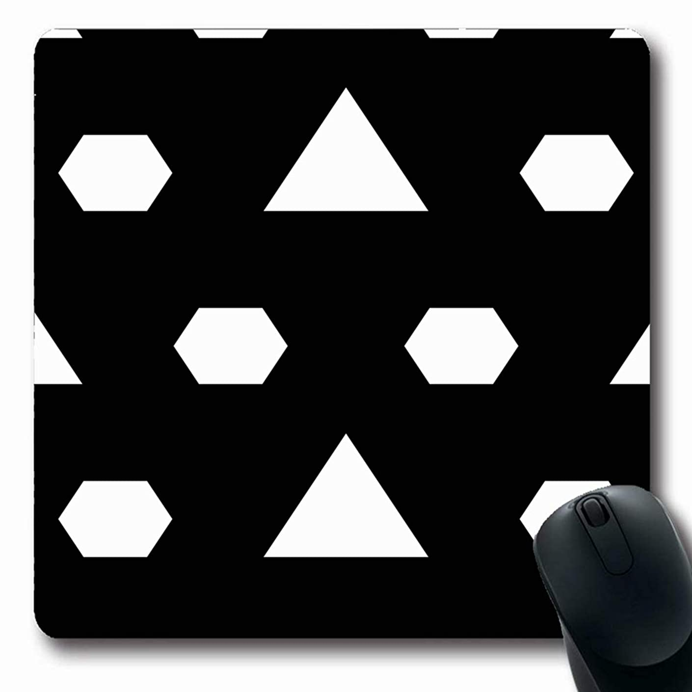 Ahawoso Mousepads for Computers Carpet Architectural Mosaic Triangles Hexagons Grid Arabesque Comb Asian Blend Bound Canvas Design Oblong Shape 7.9 x 9.5 Inches Non-Slip Oblong Gaming Mouse Pad