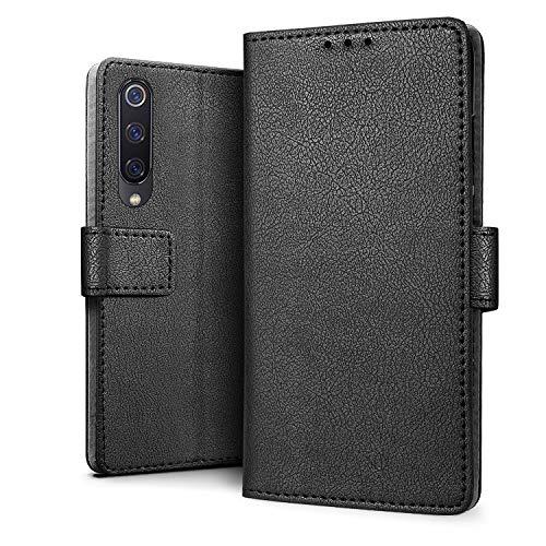HDRUN Funda Xiaomi Mi 9 SE - Prima Carcasa Libro de Cuero PU Tapa Billetera con Ranuras de Tarjeta Cierre Magnético Elegante Protección Carcasa Case para Xiaomi 9 SE, Negro