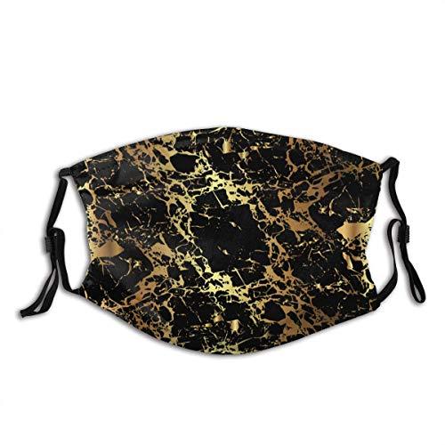 Mundschutz Veiny Black Marble Golden Streaks 3 Unisex waschbarer und wiederverwendbarer Mundschutz Gesichtsschutz für den Außenbereich