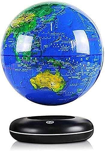 Qjkmgd Adornos del Globo, Globo de la Tabletop Globo de levitación magnética, rotativo de 8 Pulgadas Mapa del Mundo Anti-Gravedad Levitating Ball para Office Home Decor Kids Educatio Globos (Azul)