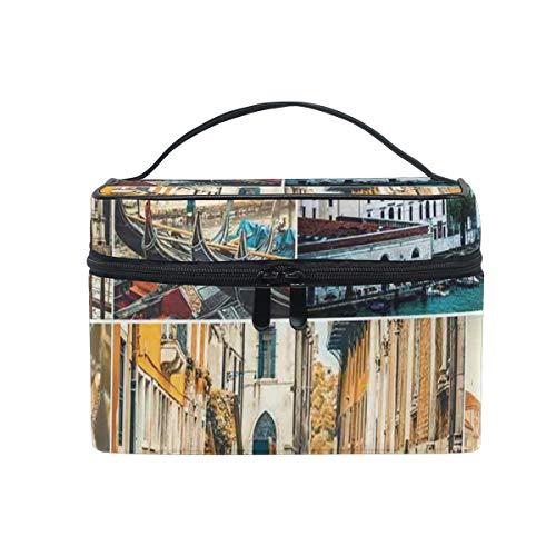 ZORMIEY Bolsa de cosméticos grande, bolsa de lavado, bolsa de almacenamiento para mujeres,Collage de varias vistas de la ciudad de Venecia con el tema de viaje del Palacio de la Catedral del Canal