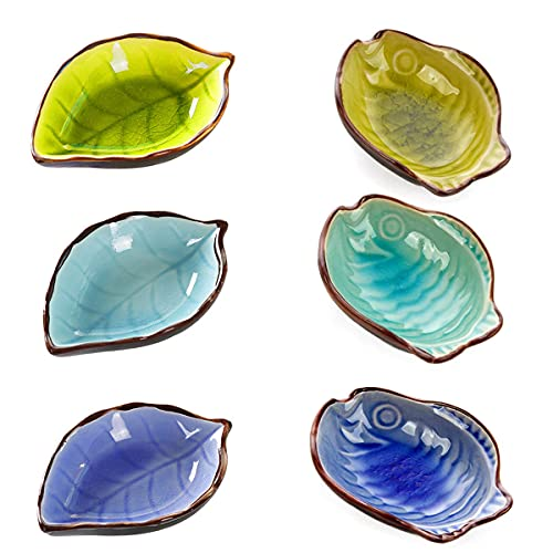 Cuencos Plato Condimento,Saijer Cuencos de Inmersión de Cerámica Platillos Diseño de Peces con Forma de Cerámica Cuencos de Salsa Forma de Hoja para Aperitivos Postres Frutas