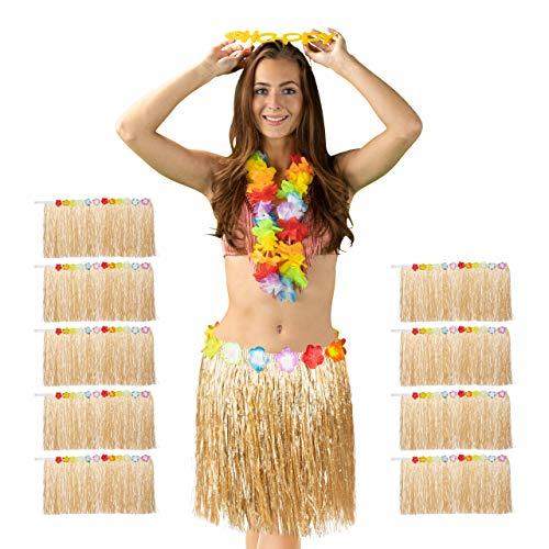 Relaxdays 10 x Hawaii Rock, Bunte Hibiskus-Blüten, Klettverschluss, Fransen Hularock für Damen & Herren, 50 cm lang, Natur