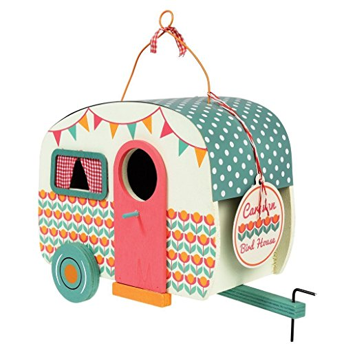 dotcomgiftshop Vintage Caravan Shaped Birdhouse