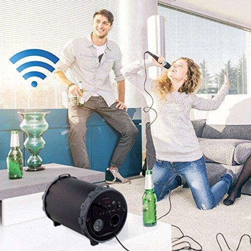 Bluetooth luidspreker met karaoke microfoon, draaggreep (draadloos, batterij, USB-aansluiting, smartphone, pc, tablet, radio)