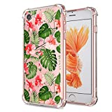 iPhone 7 8 Floral Case, Crystal Clear with Design Cute Tropical Floral and Palm Pattern Bumper Protective Case for Apple iPhone 7 8 4.7 Inch Gel Soft TPU Silicone Material Slim Shockproof Flower Cover
