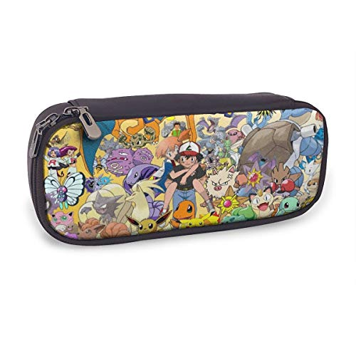 BHNGIFDWJJ - Poke-mon Ee-v-ee Pika-chu Leather Pencil Case Galaxy Pen Bag/Makeup Box/Cosmetic Pouch/Student Boxes