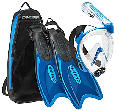 Cressi Italian Designed Premium 180° Full Face Snorkel Mask with Advanced Breathing System - Panoramic Side Snorkel Set Design - and Palau Long Snorkeling Fins and Snorkel Set Gear Bag, Blue - ML