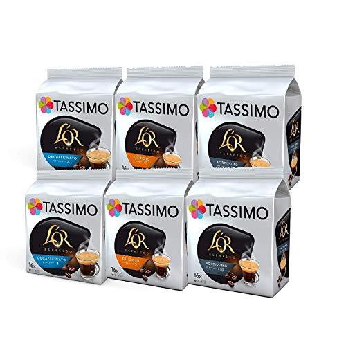 Tassimo Coffee L'OR Espresso Selection - L'OR Decaffeinato/Delizioso/Fortissimo - 6 Packs (96 Servings)